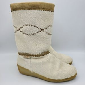 Tecnica Italy Goat Fur Leather Boots White 10.5